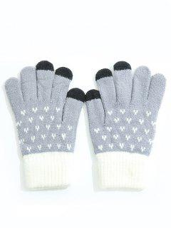Winter Color Block Full Finger Ski Gloves - Blue Gray