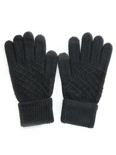 Rhombus Pattern Full Finger Winter Gloves - Black