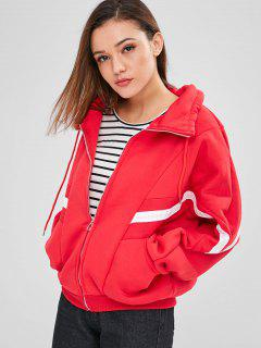 Oversized Zip Up Contrast Jacket - Red L