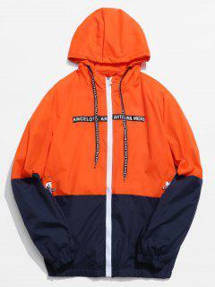 Color Block Graphic Hooded Jacket - Orange Xs