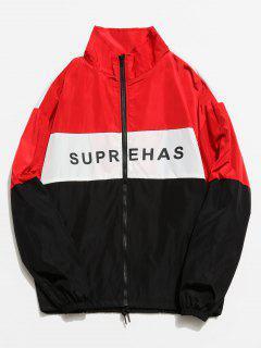 Colorblock Graphic Zip Front Jacket - Red M