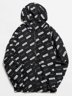 Graphic Mesh Lined Zip Hooded Jacket - Black L
