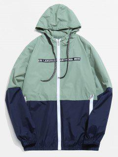 Color Block Graphic Hooded Jacket - Green Xs
