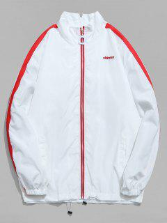 Chinese Embroidery Zip Up Stripe Trim Jacket - White 2xl