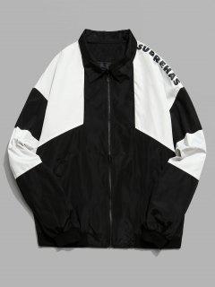 Color Block Graphic Zip Front Jacket - Black Xl