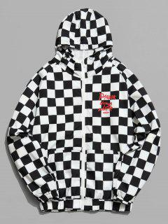 Graphic Mesh Lined Check Hooded Jacket - Black M