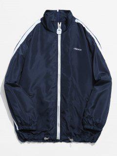 Chinese Embroidery Zip Up Stripe Trim Jacket - Dark Slate Blue M
