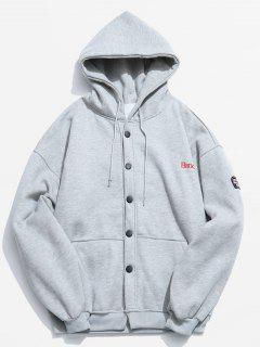 Button Up Hooded Fleece Jacket - Light Gray Xl