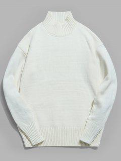 Drop-shoulder Sleeve Turtleneck Sweater - White S
