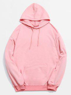 Solid Color Kangaroo Pocket Drawstring Hoodie - Light Pink L