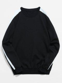 Stripe Contrast Fleece Lined Sweatshirt - Black L
