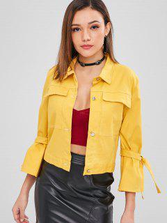 ZAFUL Pocket Tie Sleeve Boxy Jacket - Yellow L