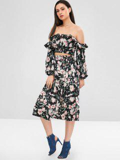 ZAFUL Floral Smocked Top And Skirt Set - Multi L