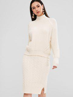Turtleneck Cable Knit Sweater And Skirt Set - Warm White