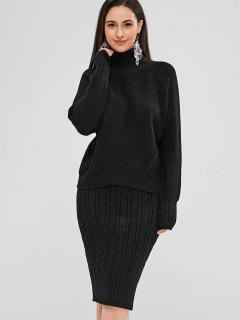 Turtleneck Cable Knit Sweater And Skirt Set - Black