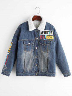 Pocket Graphic Denim Fleece Jacket - Denim Blue M