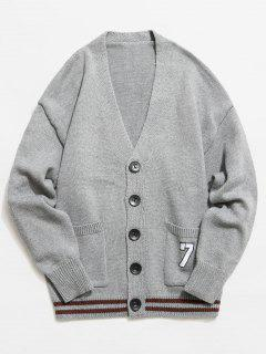 Button Fly V Neck Knitted Cardigan - Gray Xl