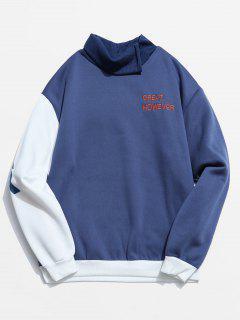 Sweat-shirt Irrégulier En Couleur Contrastée à Col Haut Design - Bleu Bleuet M