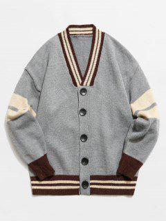 Color Block Button Fly Knitted Cardigan - Gray L