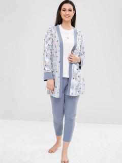 Cherry Three Piece Pajama Set - Multi L