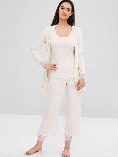 Wavy Striped Three Piece Pajama Set - Light Brown Xl