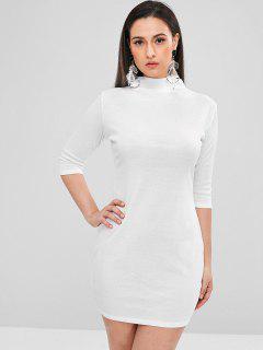 Fine Knit Funnel Neck Mini Dress - White M