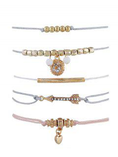 Ensemble De Bracelet Flèche Cœur Perlé Avec Strass - Or
