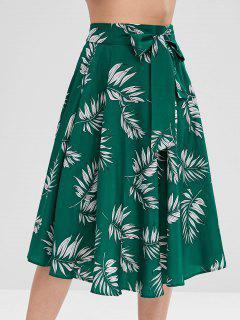 Tie Leaf Print Midi Skirt - Medium Sea Green L