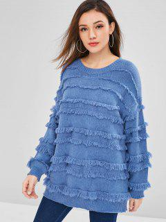 Fringed Oversized Pullover Sweater - Silk Blue