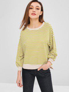 Oversized Striped High Low Sweatshirt - Ginger Brown M