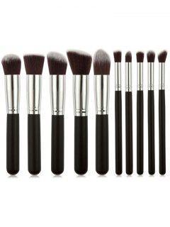 Professional 10Pcs White Wooden Handles Travel Makeup Brush Set - Black Regular