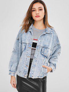 Slit Ripped Frayed Denim Jacket - Azul De Jeans