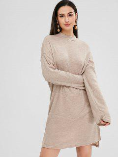 Side Slit High Low Dress - Light Khaki Xl