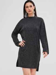 Vestido Alto Bajo Con Aberturas Laterales - Gris Carbón S
