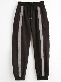 Drawstring Side Pocket Jogger Pants - Black L