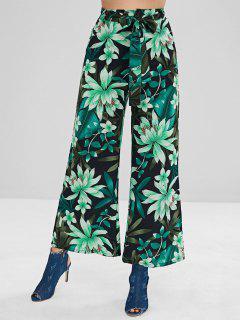 Pantalones Palazzo Con Cinturón Estampado De Planta - Multicolor L