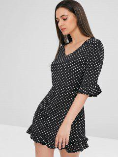 Polka Dot Ruffled Shift Mini Dress - Black M