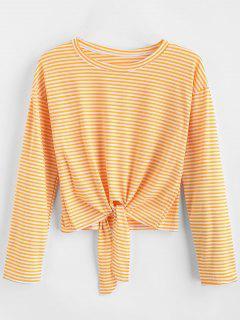 Camiseta Anudada Con Mangas Largas A Rayas - Caucho Ducky Amarillo L