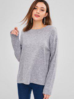 Camiseta De Color Sólido Con Ajuste Holgado - Gris L