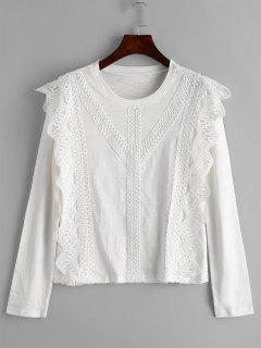 Camiseta De Manga Larga Con Paneles De Ganchillo - Blanco Xl