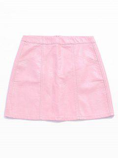 Pocket Mini Faux Leather Skirt - Pig Pink S