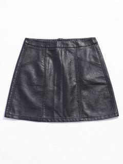 Pocket Mini Faux Leather Skirt - Black L