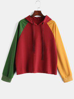 Raglan Sleeve Color Block Casual Hoodie - Red Wine M