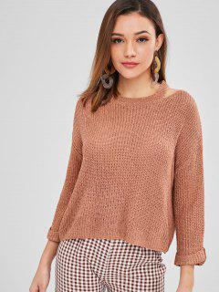 Aufgerollter Sleeve Cut Out Sweater - Braun