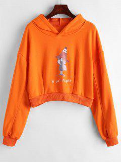 Sweat à Capuche Imprimé Lettre épaule Fille - Orange Xl