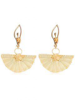 Elegant Knit Straw Fan Shaped Earrings - Gold