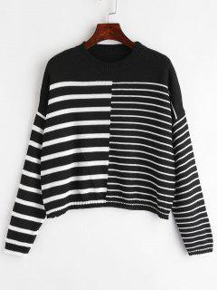 Loose Contrasting Stripes Sweater - Black