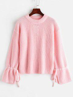 Boxy Ripped Slit Tie Sleeve Sweater - Pink