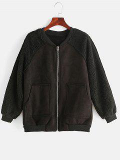 Pocket Fluffy Zip Raglan Sleeve Jacket - Black M