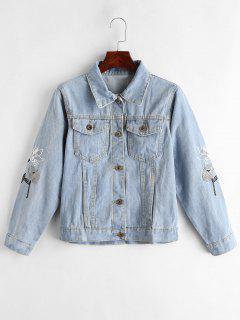 Floral Embroidered Jean Jacket - Jeans Blue L